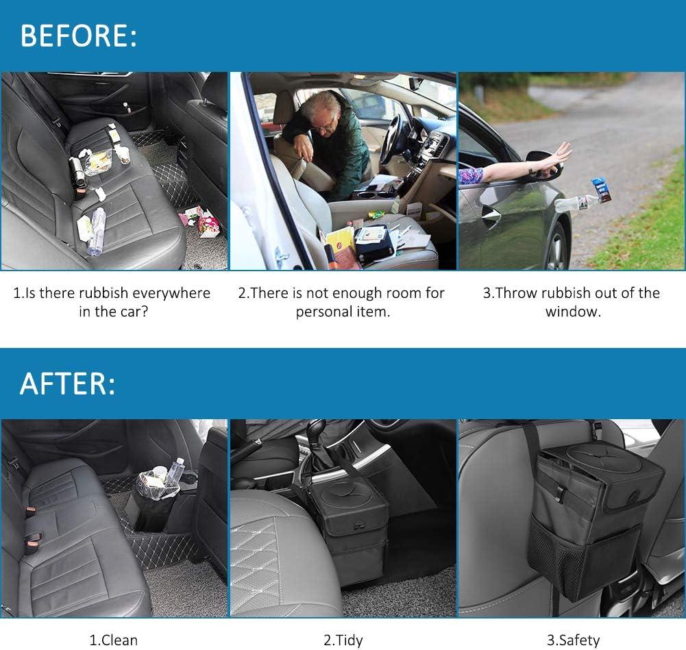 Foldable Antiseptic Rubbish Bin Car Trash Can SUNWAN Leakproof Waterproof Garbage Bag with Lid Multipurpose Dustbin Storage Pockets Car Organiser