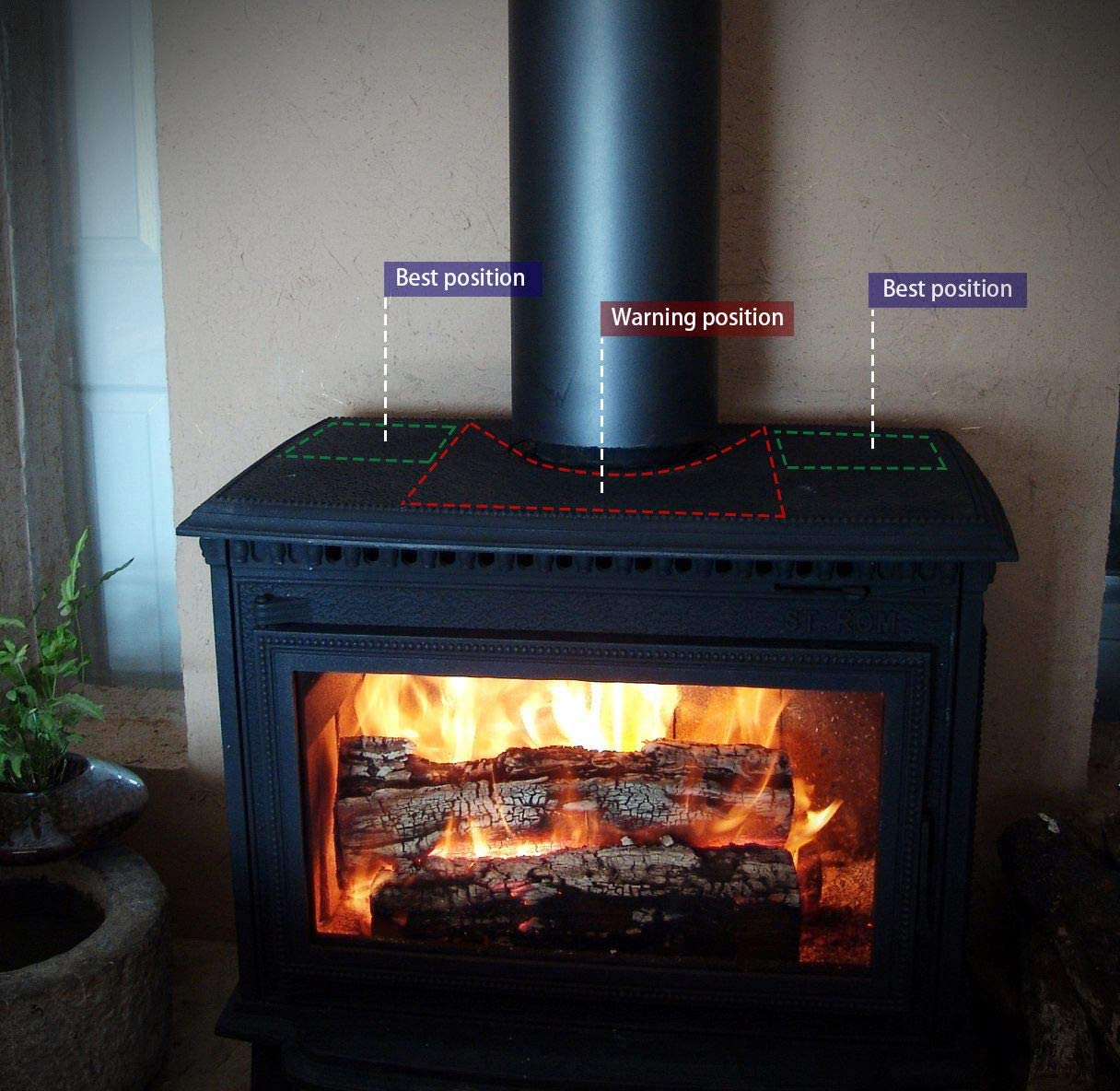 Ventilador de chimenea, XBCC estufa de leña ventilador de chimenea ...