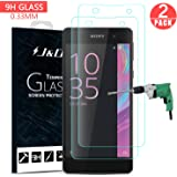 Xperia E5 Screen Protector, J&D Glass Screen Protector [Tempered Glass] HD Clear Ballistic Glass Screen Protector for Sony Xperia E5 - Protect Screen From Drop and Scratch (2 Packs)