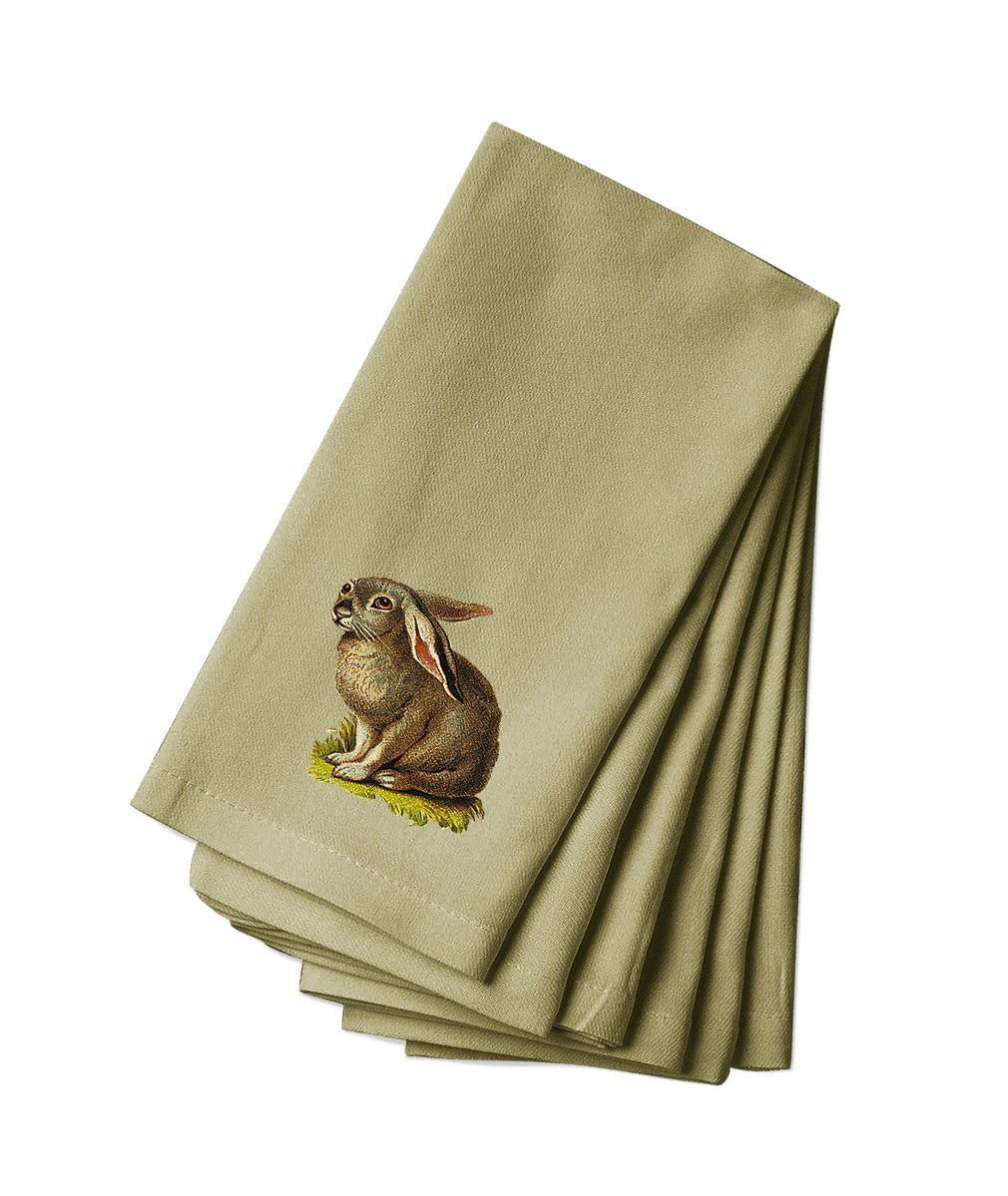 Style in Print Cotton Canvas Dinner Napkin Set Of 4 Gray Bunny Pets Animals By by Style in Print