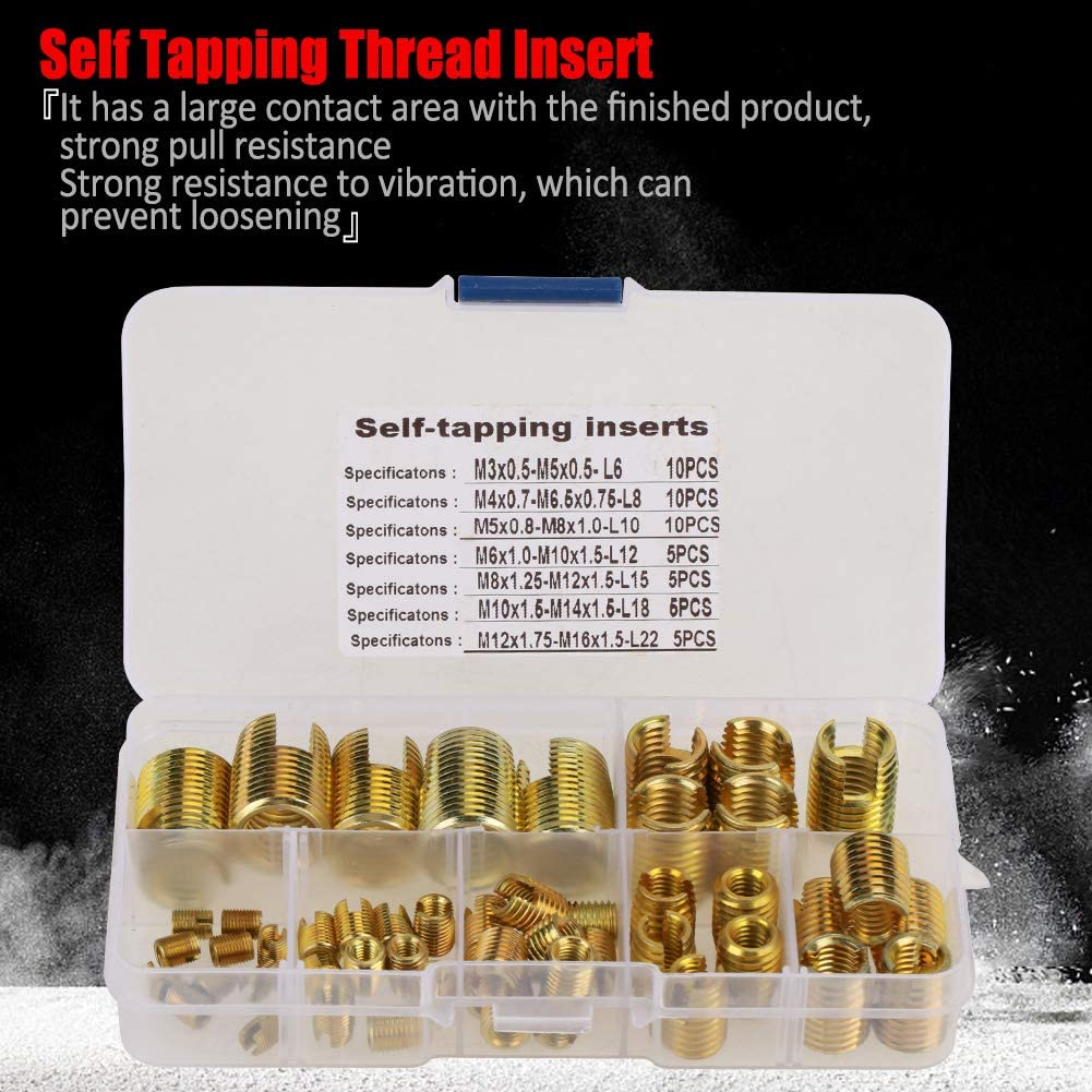 50Pcs Brass Tone Combination Set Repair Thread Tool with Storage Box PBZYDU Self Tapping Thread Slotted Inserts