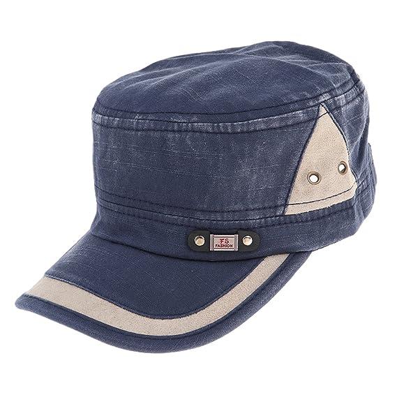 52ca21685212 Sharplace Sombrero Plano de Algodón Unisex Casquillo Tapa de Cadete ...