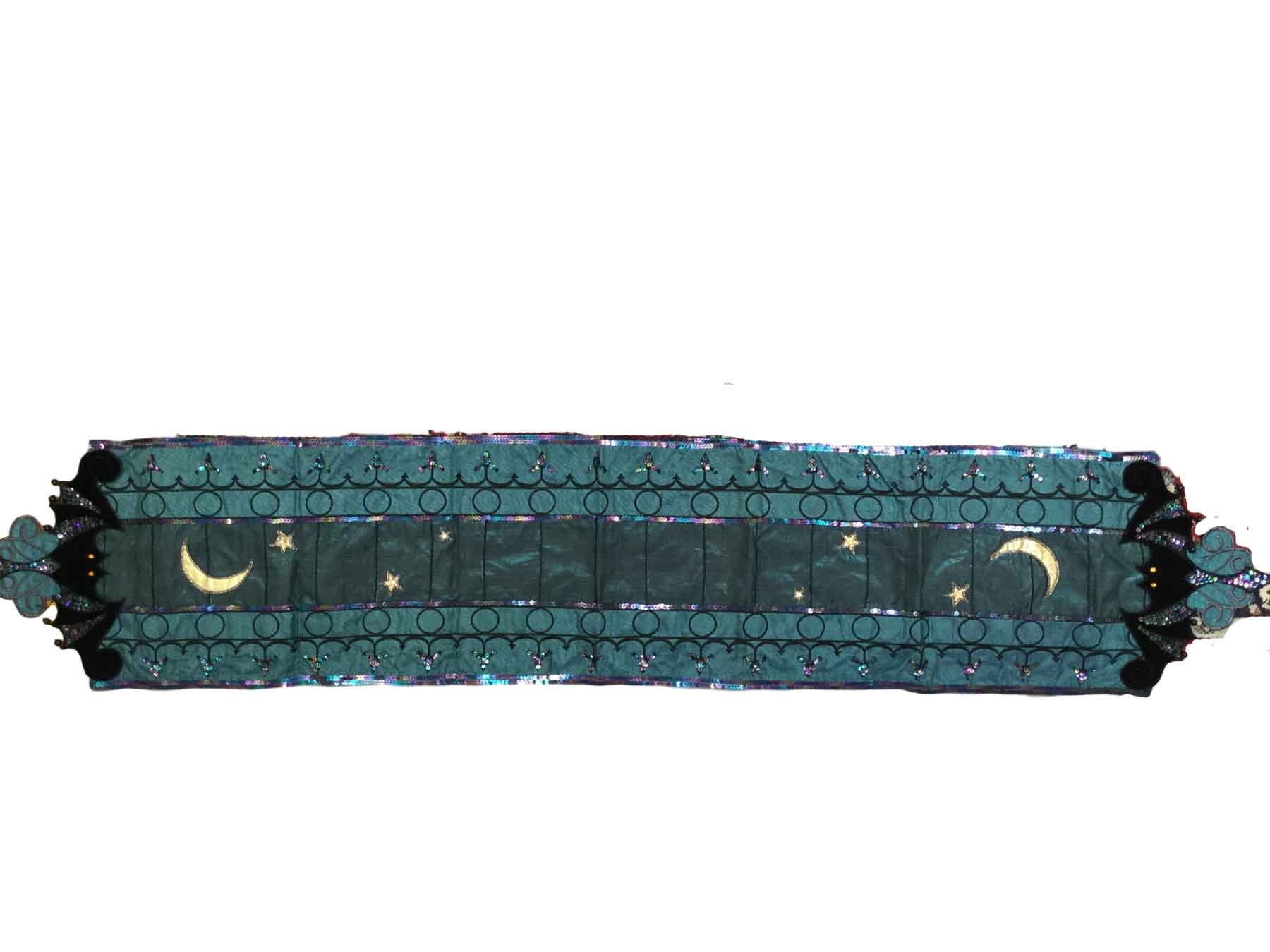 Katherine's Collection Half Moon Teal Fancy Table Runner