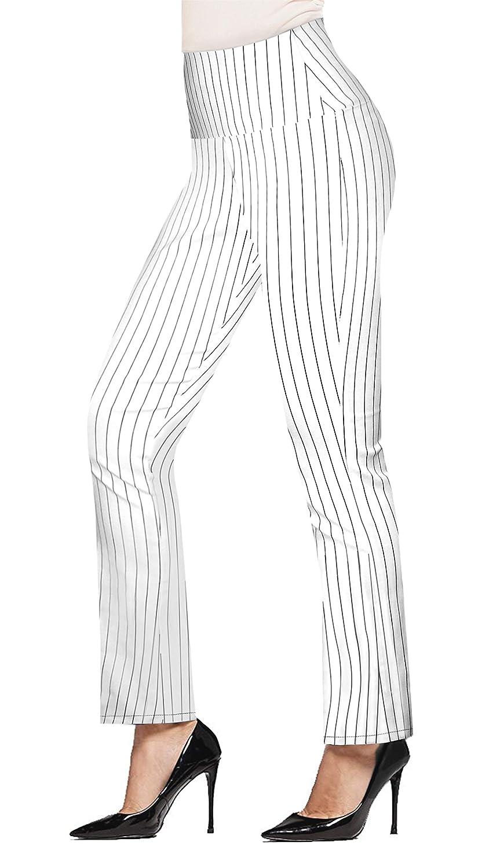 HyBrid & Company レディーズ スーパーフィットストレッチプルオンビジネスミレニアムパンツ B07JBKJNPV Large 10909-whiteblack 10909-whiteblack Large