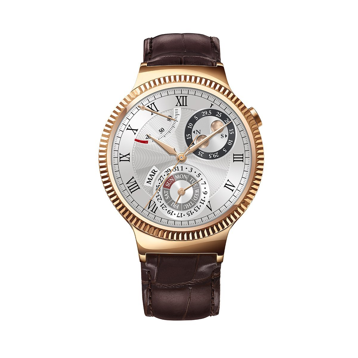 Huawei Watch Rose Gold Plated Stainless Steel with Brown Suture Leather Strap (U.S. Warranty) by Huawei