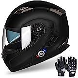 FreedConn Motorcycle Bluetooth Helmet, BM2-S Flip Up Modular Bluetooth Motorcycle Helmet Voice Dial/Hands-Free Call/ 500M/ 2-