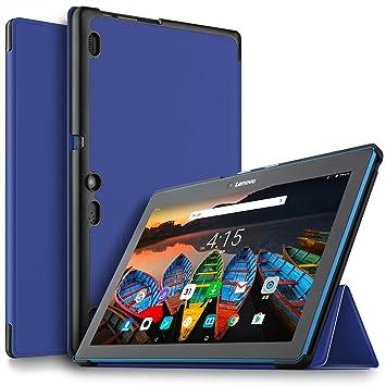 IVSO Lenovo Tab 10 Funda Case, Slim Smart Cover Funda Protectora de Cuero PU para Lenovo TAB10 / Lenovo TB-X103F Tablet (Azul)
