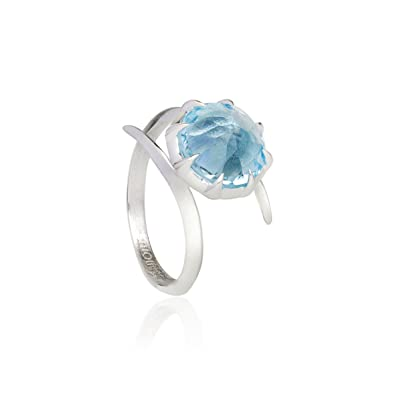Woman by Katie Rowland Sterling Silver and Blue Topaz Gem Ring zknf3Zc