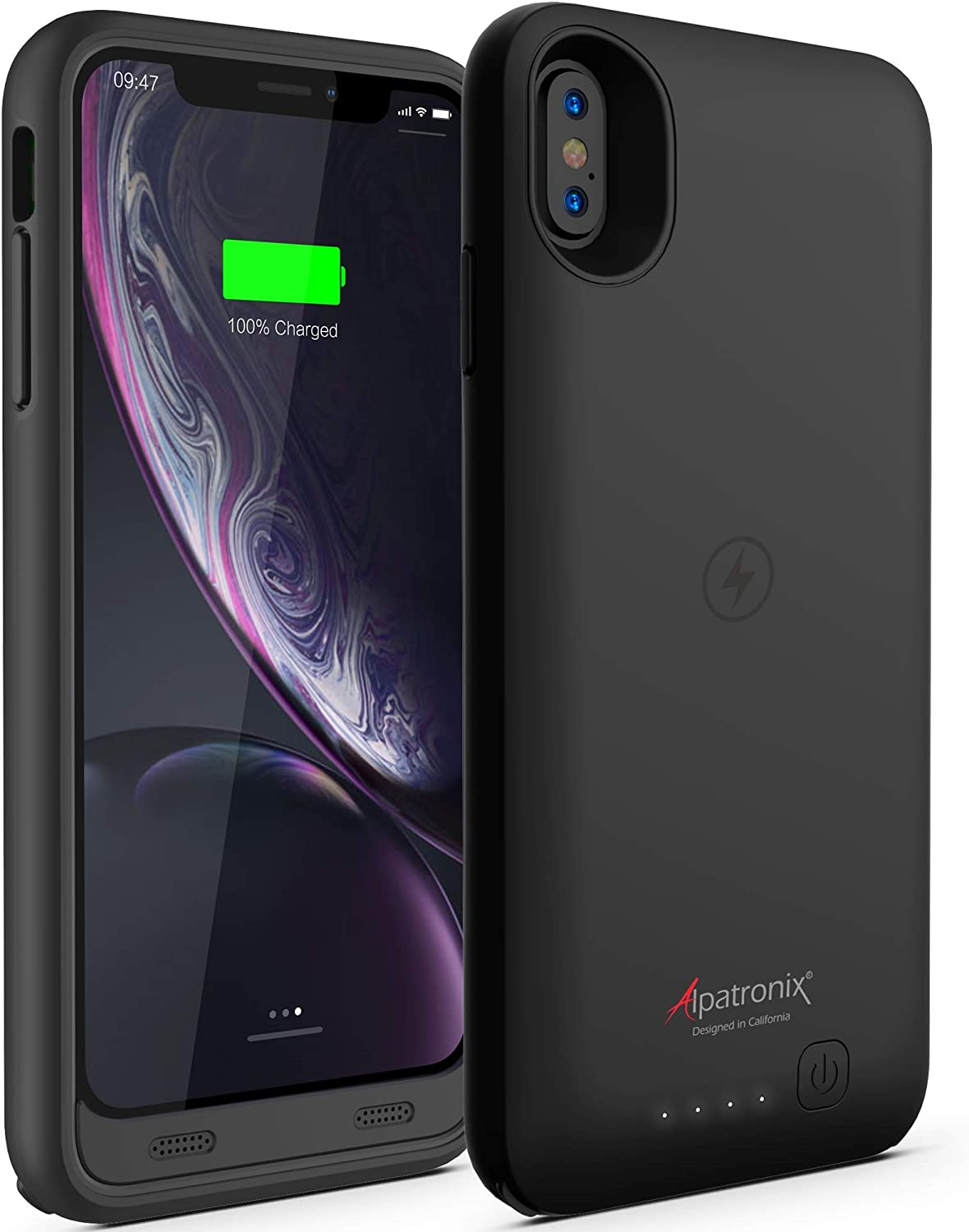 Alpatronix iPhone XR Battery Case, 3500mAh Portable Protective Extended Charger Cover with Qi Wireless Charging Compatible with iPhone XR (6.1 inch) BX10r - (Black)