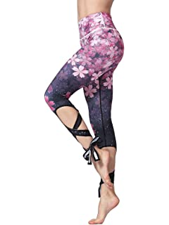ae786c73afcd3e FLYILY Women's Capris Sports Leggings Running Tights High Waist Bandage  Stretch Fitness Yoga Pants