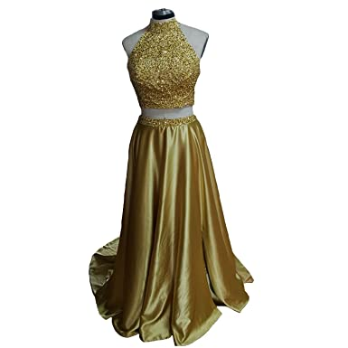 Sexy Long Two Piece Gold Prom Dresses with Beaded (2)