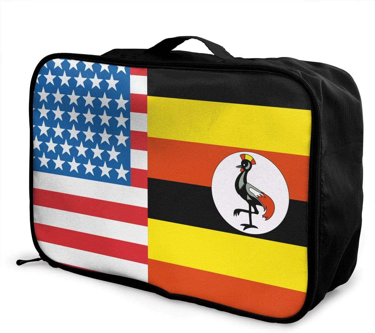 American Uganda Flag Overnight Carry On Luggage Waterproof Fashion Travel Bag Lightweight Suitcases