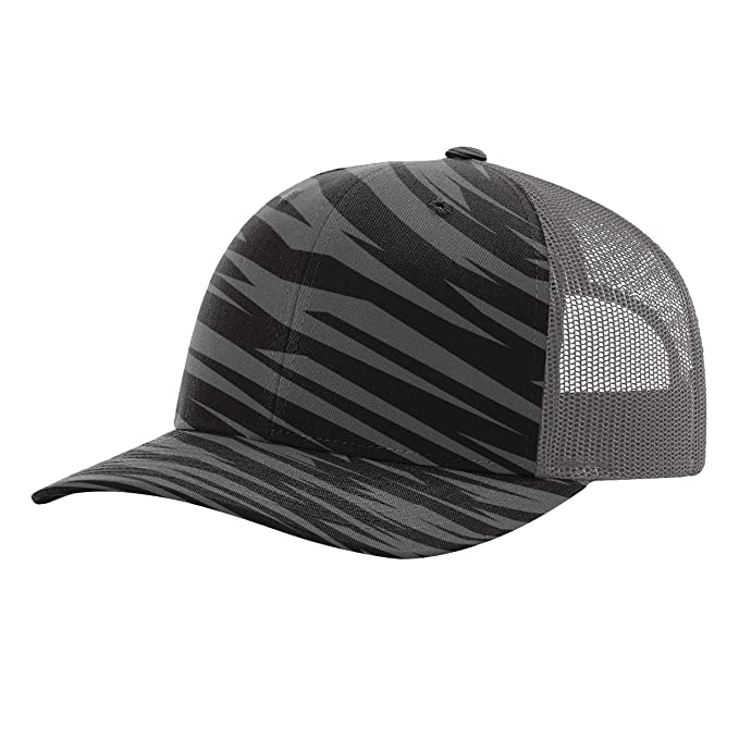 1ac2db48 Image Unavailable. Image not available for. Color: Twill Mesh Back Trucker  Snapback Hat -- BLACK STREAK/CHARCOAL