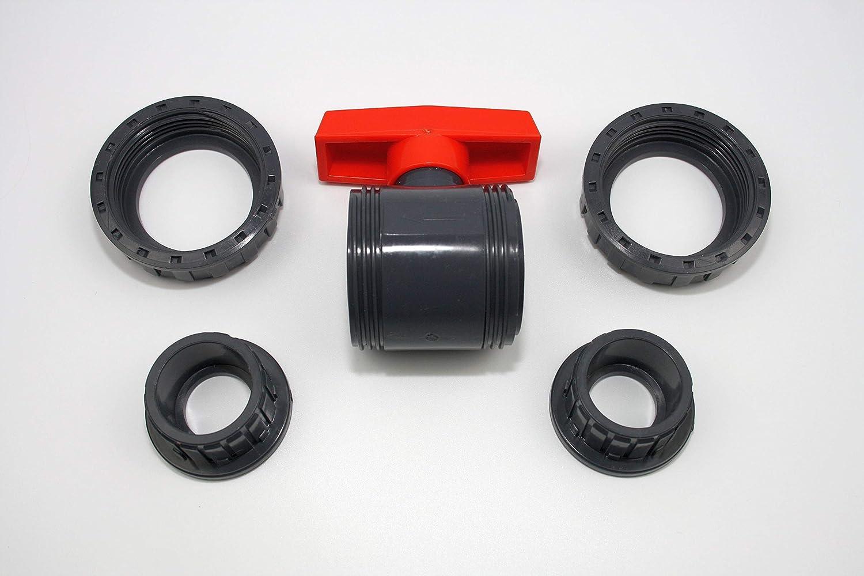 Kugelhahn 40mm mit 2 x Klebemuffe 1 1//4 aus PVC U 10 bar DIN 8063
