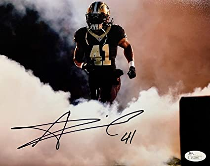 6d42d30c Image Unavailable. Image not available for. Color: Alvin Kamara Autographed  Signed New Orleans Saints 8x10 Tunnel Photo Memorabilia JSA U12080