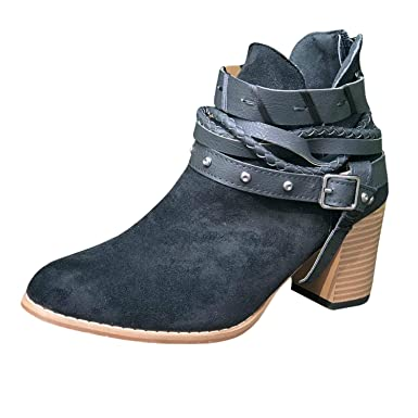 16c771c2915 Women s Ankle Buckle Booties V Cut Stacked Heel Back Zipper Bohemia Weave  Vintage Boots