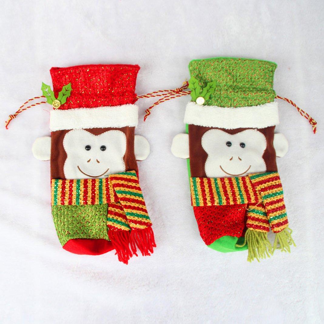 Adornos de Navidad botella conjuntos,Moon mood® Christmas Bottle Sets biberones de Navidad Bolsa del mono bolsa de rojo Vino Rojo Navidad en casa Decoración ...