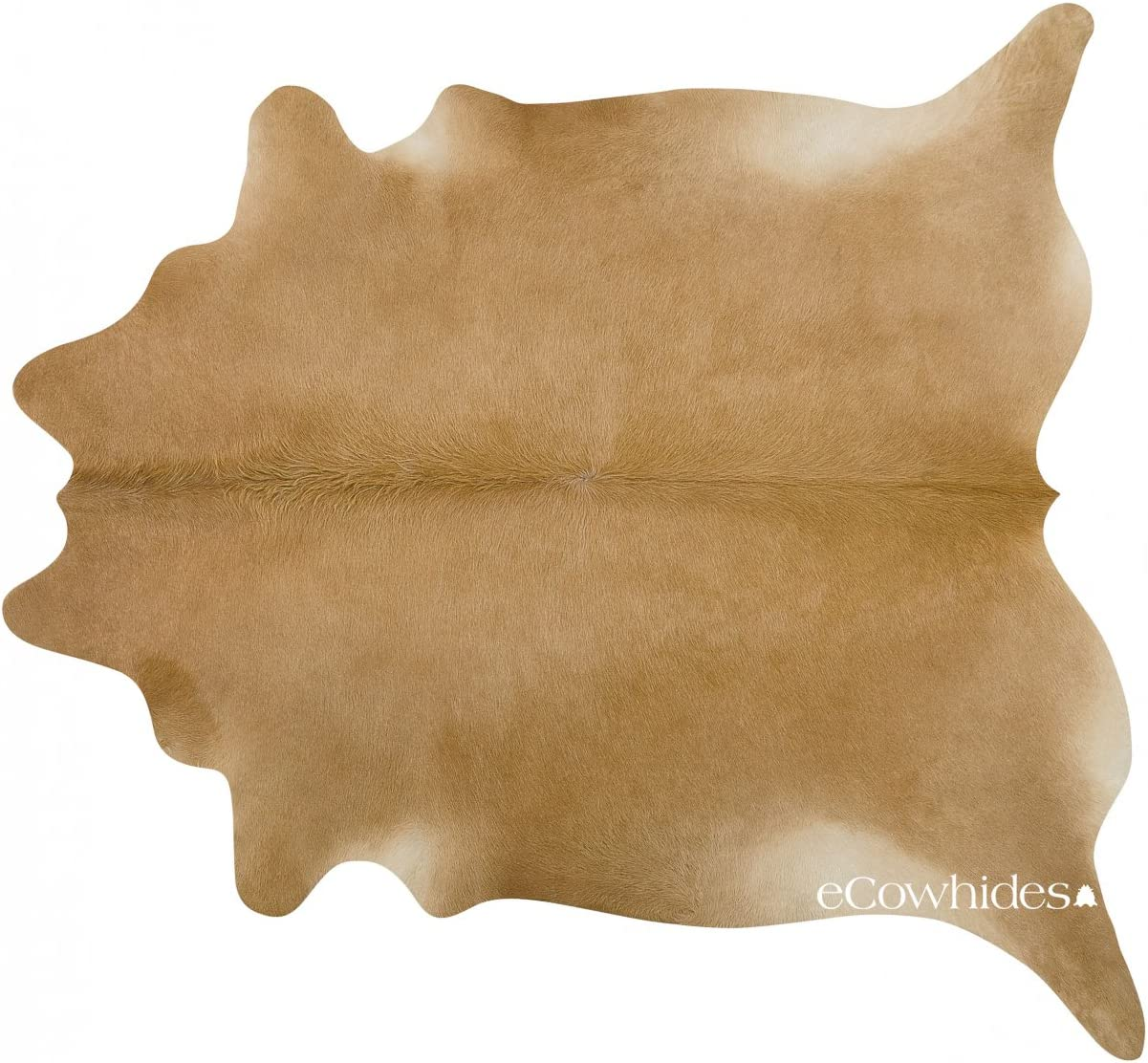 eCowhides Palomino Brazilian Cowhide Area Rug, Cowskin Leather Hide for Home Living Room XL 7 x 6 ft