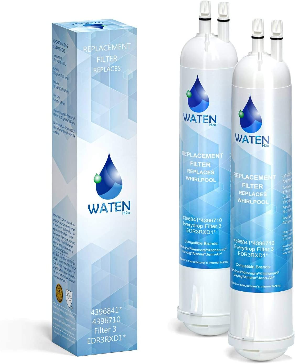 WATEN H2O 4396841 EDR3RXD1 Water Filter Replacement, Compatible with 4396710 Refrigerator Cap Water Filter 3 Kenmore 9083, 9030 2-Packs