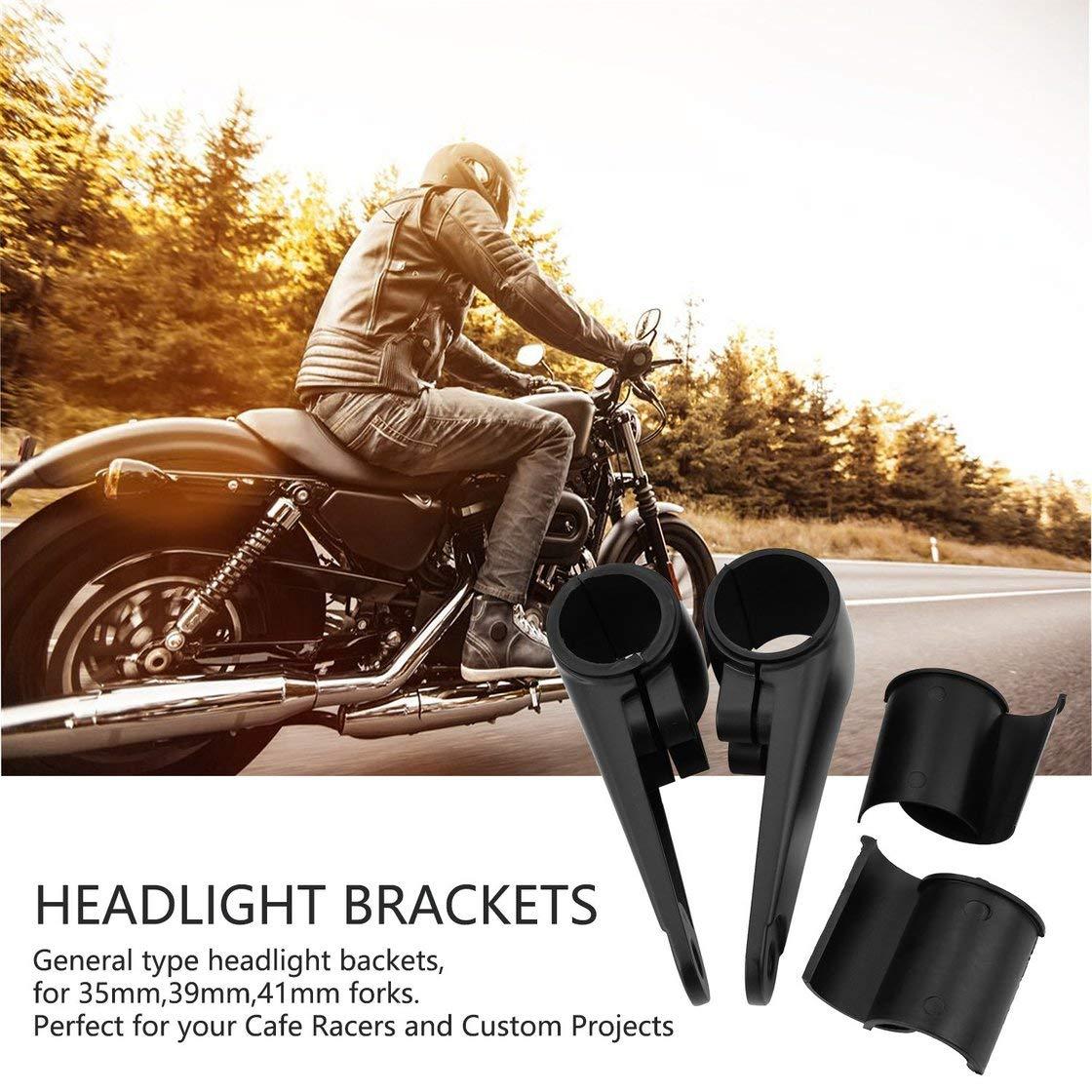35//39 41mm moto phare monture support fourche oreille billette en aluminium pour harley custom universel cafe racer noir