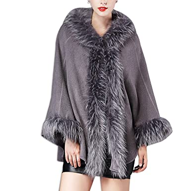 KAXIDY Abrigos Invierno Mujer Chaqueta Abrigo Moda Piel Imitación Ponchos Capas (Gris)