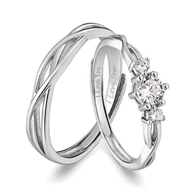 3e14b455fd50c ANAZOZ I Love You His & Hers Matching Wedding Rings Adjustable CZ S925  Sterling Silver Rings for Couple
