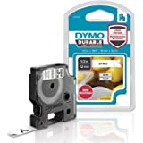 "DYMO D1 Durable Labeling Tape for LabelManager Label Makers, Black Print on White Tape, 1/2"" W x 18' L, 1 Cartridge (1978364)"