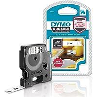 DymoD1 Ruban d'étiquette résistant pour Etiqueteuse 12mm x5,5m Noir/Blanc