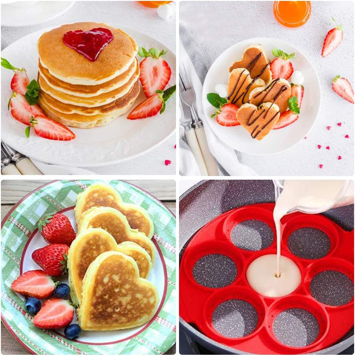 2 St/ücke Wiederverwendbar Auslaufsichere Pfannkuchenformen Multifunktional Breakfast Pancake Shaper Ledeak Nonstick Silikon Ei Ring Pfannkuchen Form