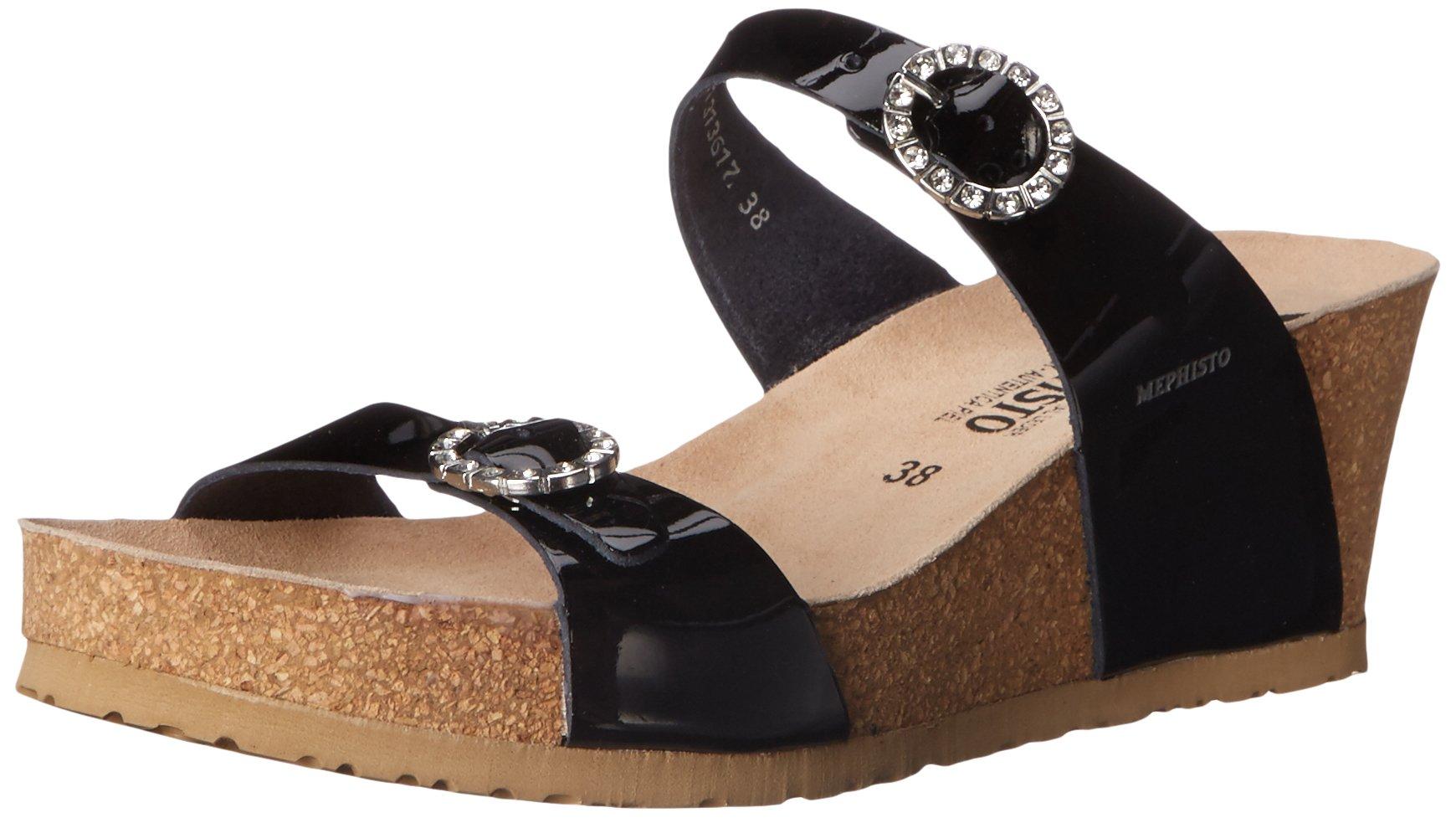 Mephisto Women's Lidia Platform Dress Sandal, Black Patent, 7 M US