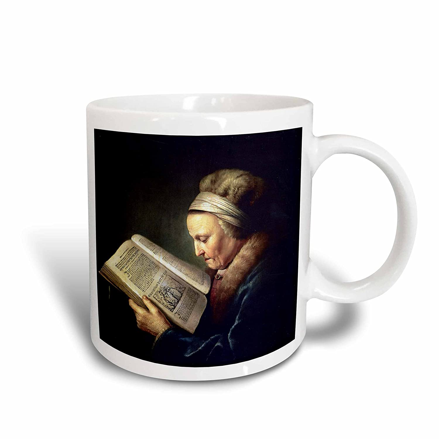 3dRose 170912/_2 Old Woman Reading A Lectionary Rembrandts Mother C 1630 By Gerard Dou Ceramic Mug 15 oz