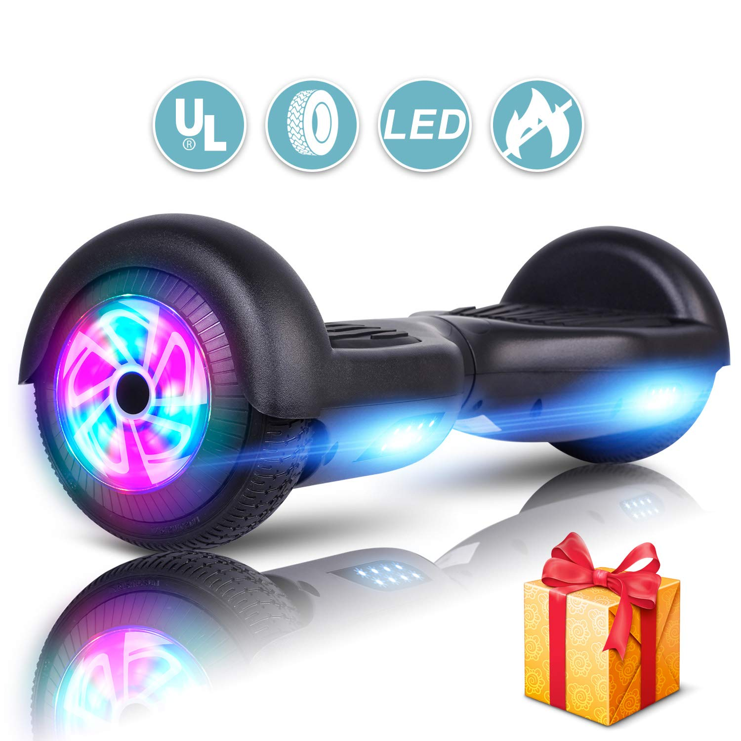 Sea Eagle Hoverboard Self Balancing Scooter Hover Board for Kids Adults with UL2272 Certified, Wheels LED Lights and Portable Carrying Bag (Black) by LIEAGLE