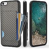 ZVEdeng iPhone SE 2020 Case, iPhone 8 Wallet Case, iPhone 7 Card Holder Case, Shockproof Credit Card Holder Case Carbon Fiber Protective Slim Wallet ID Case for Apple iPhone SE 2020/8/7 4.7'' Black