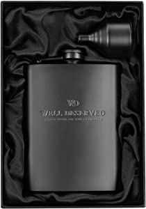 Matte Black Flask + Black Funnel + Black Canvas Pouch Gift Set, 8 oz. Engraved WELL DESERVED. Classy Packaging. Stainless Steel Hip Flask For Liquor For Men. Alcohol Drinking Flasks. By WELL-DESERVED