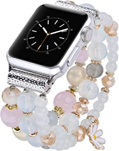 V-MORO Bracelet Compatible with Apple Watch Band 44mm 42mm Sereis 6/5 Women Fashion Handmade Elastic Stretch Beads Replacement for iWatch Series 4/3/2/1 42mm/44mm Girls Pink Blue