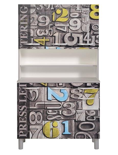 Küchenschrank seamus 32 101x181x44 cm weiß grau schrank ...