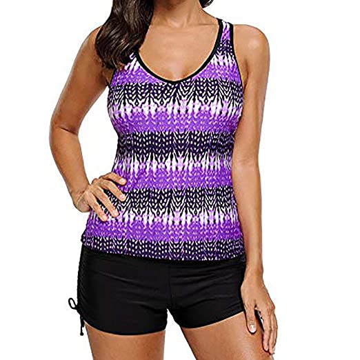 f168c67b93 Amazon.com: cobcob Women Two Piece Backless Tankini Ladies Halter Strap  Plus Size with Boy Short Swimwear Bathing Suit: Arts, Crafts & Sewing