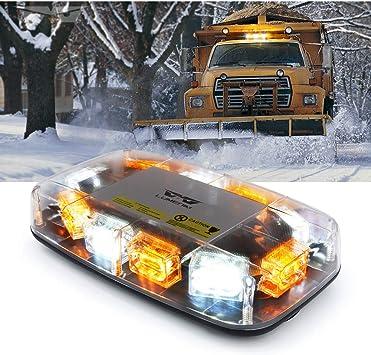 Amber High Visibility Emergency Safety Warning LED Mini Strobe Light bar with Magnetic Base for 12-24V Snow Plow ASPL 48LED Roof Top Strobe Lights Trucks Construction Vehicles