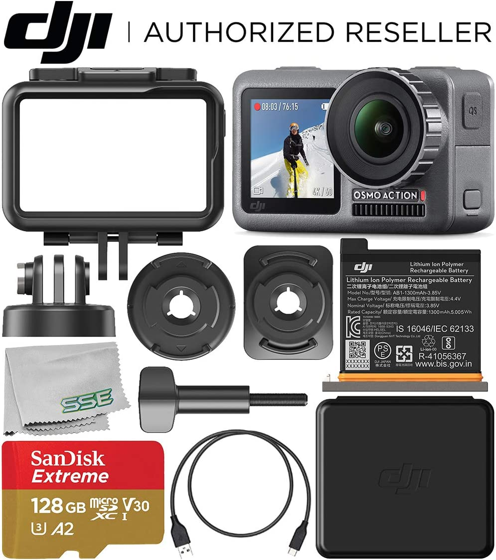 DJI Osmo Action 4K Camera with 128GB Basic Accessory Bundle – Includes SanDisk Extreme 128GB microSDXC Memory Card UHS-I V30 A2 U3 Class-10 Microfiber Cleaning Cloth