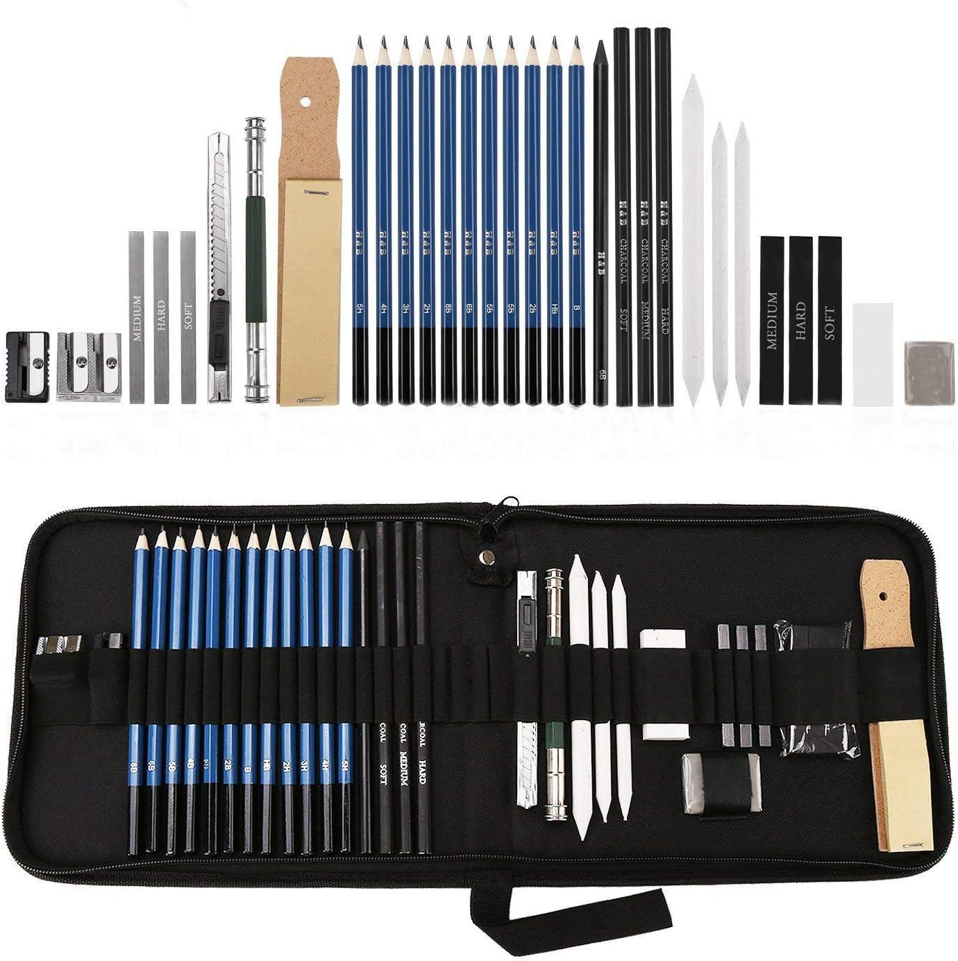 Lapices de Dibujo Artístico, Lypumso Set de Lápices Profesional del Artista y Bosquejo Carbón Grafito Sticks, Lápices de Madera, para Artista Principiante Niños (32-pcs)