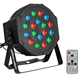 COLOR'SAGE ステージライト 舞台照明 18個 LED スポットライト 80W RGB DMX512 ディスコライト 自走機能 音声起動 ステージ照明 多色変化 ストロボ 誕生日/ディスコ/カラオケ/パーティー/ステージ/KTV/バー 照明用ライト リモコン付き(18LED RGB)