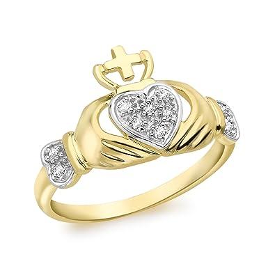Elements Gold 9ct Yellow Gold Plain Claddagh Ring 7jdOxNN3wu
