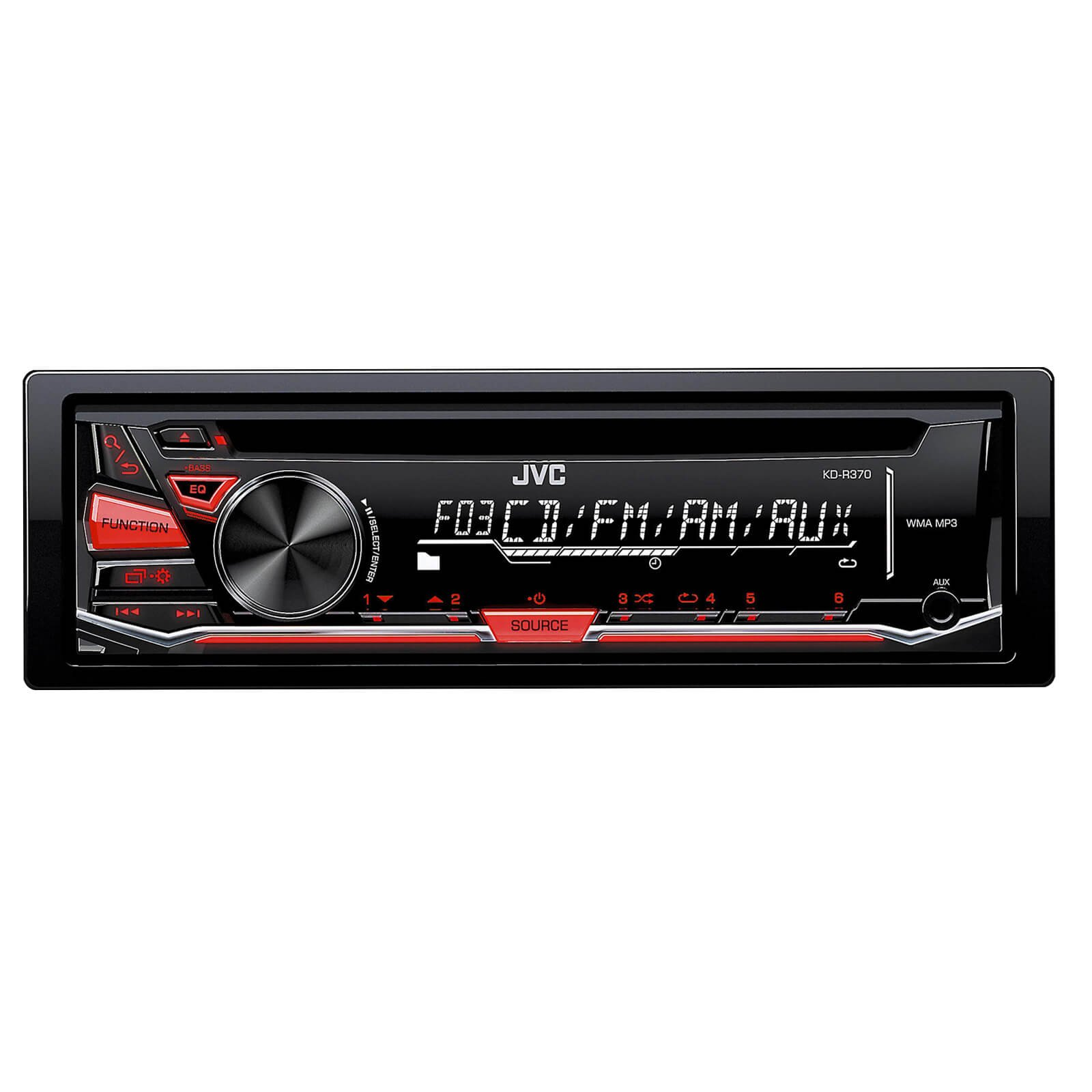 JVC KD-R370 CD/MP3 AM/FM Radio Player Car Receiver Bundle Combo With 2x DR6820 300-Watt 6x8'' Inch Vehicle Coaxial Speakers + 2x DR620 6.5'' Inch 2-Way Audio Speakers + Enrock 50 Feet 16-Gauge Wire by JVCAudioBundle (Image #2)