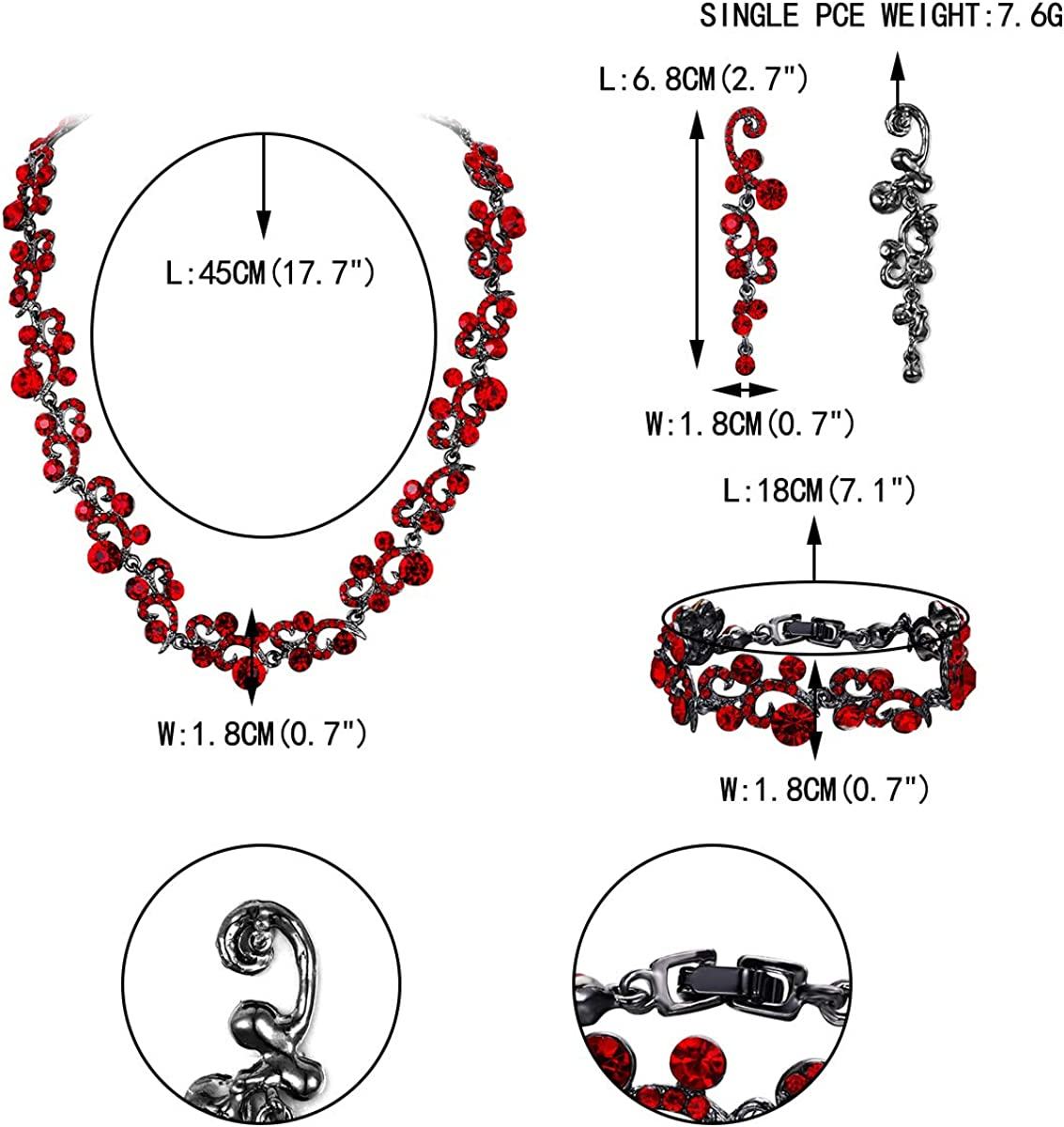 EVER FAITH Womens Austrian Crystal Elegant Wedding Flower Wave Necklace Earrings Bracelet Set