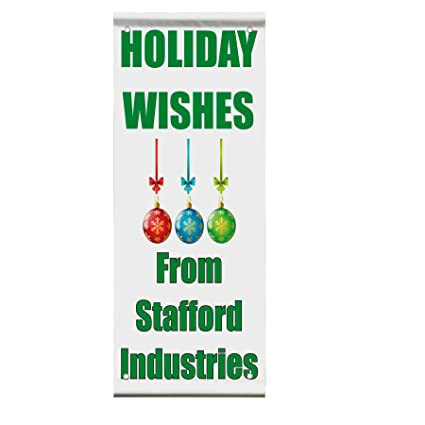 holiday wishes christmas new year custom double sided vertical pole banner sign 24 in x 48