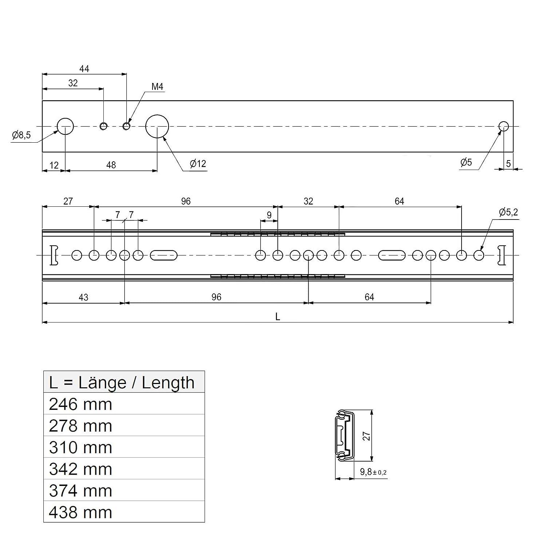 SO-TECH/® Teilauszug Schubladenschiene Schubladenauszug H 27 L 278 mm Teleskopschiene Rollenauszug