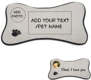 SETSBO Personalized Dog/Cat Feeding Mats, Custom Photo/Text Pet Food and Water Mat, Pet Feeding Mat for Floor with Non Slip Backing