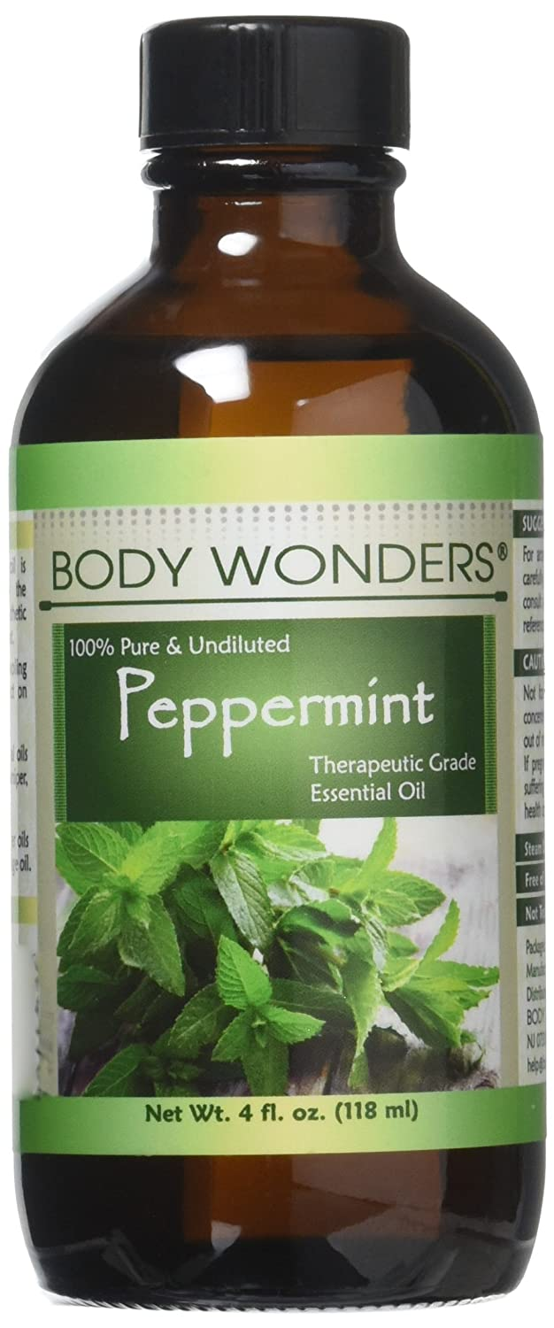 """Body Wonders 100% Pure Peppermint Essential Oil – 4 fl oz - Premium Therapeutic Grade Essential Oil for Aromatherapy - Natural Solution for Repelling Mice, Spiders & Pest "" Spiders & Pest """