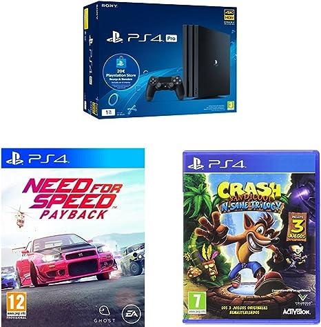 Playstation 4 Pro (PS4) - Consola de 1TB + 20 live card (Edición Exclusiva Amazon) + Need for Speed Payback - Edición estándar + Crash Bandicoot N.Sane Trilogy - PlayStation 4: Amazon.es: Videojuegos