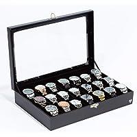 Porta Relógios Total Luxo Couro Eco Premium Preto Preto 21 Divisórias